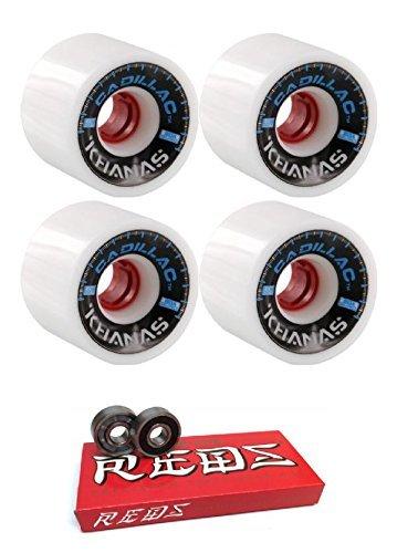 空白良心ペパーミントCadillac Wheels 66 mm Khana Longboard Skateboard Wheels with Bones Bearings – 8 mmスケートボードベアリングBones Super Redsスケート定格 – 2アイテムのバンドル