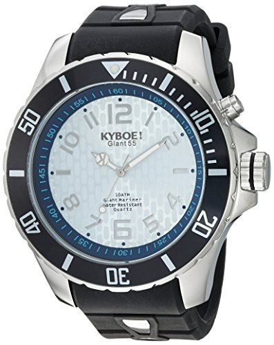 KYBOE! 'Power' Quartz Stainless Steel and Silicone Casual Watch, Color:Black (Model: KY.55-009.15)