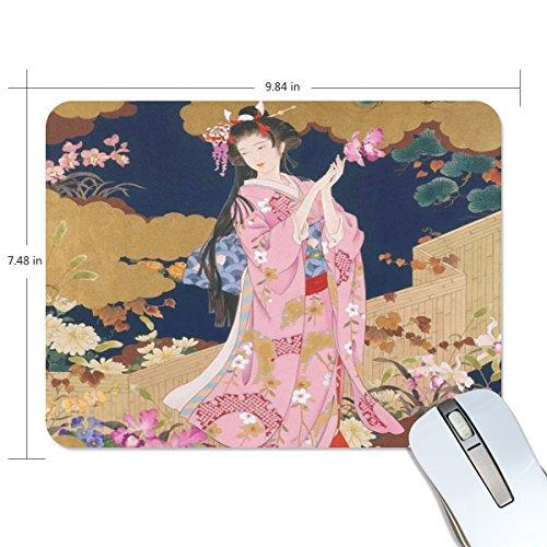 (Jennifer Office Nonskid Rubber Mouse Mat Beautiful Japanese Geisha Girl RectangleNonslip Mouse Pad)