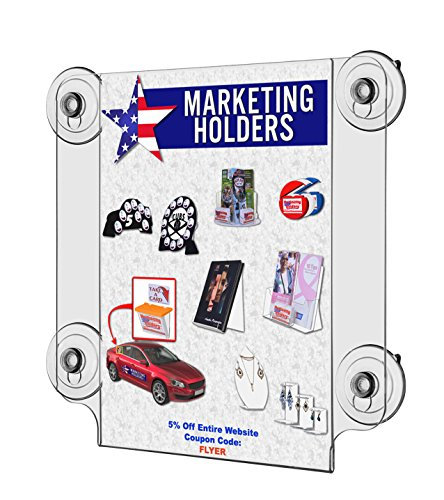 Marketing Holders Lot of 6 Clear Acrylic 8.5''w x 11''h Ad Frame with Four Suction Cups by Marketing Holders