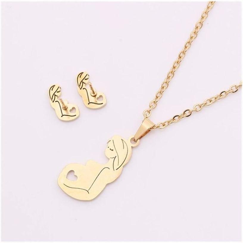 Accesorios Acero Inoxidable Nuevo de la Manera Creativa Colgante de la Cadena del Oro Ahueca hacia Fuera el Collar del diseño Simple Traje for la Mujer Regalo (Metal Color : 1)