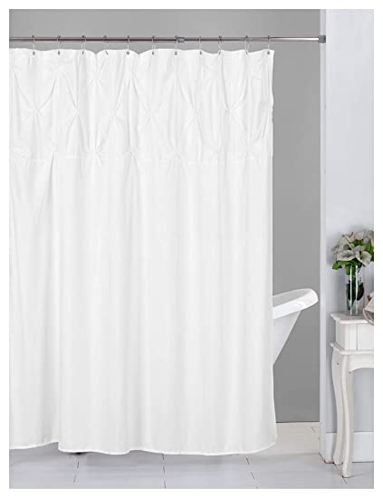 Home Queen Tufted Ruffle Pattern Shower Curtain With 12 Stainless Steel Metal Hooks And Reinforced Grommets