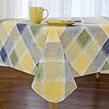 Harmony Plaid Flannel Backed Indoor Outdoor Vinyl Table Linens, 60-Inch by 144-Inch Oblong (Rectangle), Blue