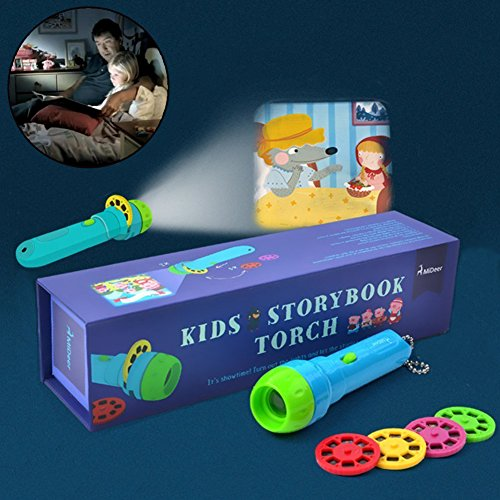 Story Projection Torch , Kids Sleep Stories , Flashlight Luminous Toy , Animal Slide Show , 4 Fairy Tales Movies 32 Slides Great Educational Toy Gift for Toddler , Boys and Girls