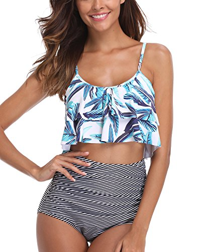 Tempt Me Women 2 Piece Palm Leaf Print Tiered Ruffle Striped Ruched High Waisted Bikini Set L