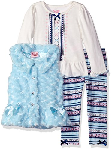 Nannette Little Girls' Toddler 3 Piece Curly Fur with Sat...