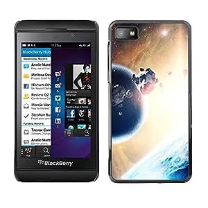 QCASE / Blackberry Z10 / planeta asteroides mundo extraño sol universo / Delgado Negro Plástico caso cubierta Shell Armor Funda Case Cover