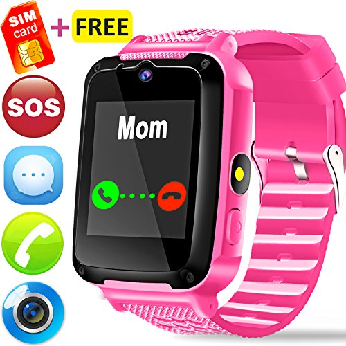 Watch Cell Camera Phone (Kids Smart Watch Phone - [FREE Speedtalk SIM Card] Kids Smartwatch for Boys Girls with Cellphone SOS Anti-lost Camera Game Children Sport Outdoor Digtal Wrist Watch for Summer Holiday Gift, Pink)