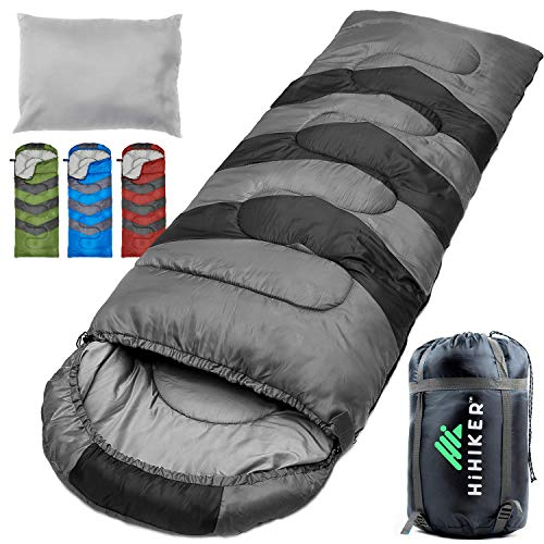 HiHiker Camping Sleeping Bag + Travel Pillow w/Compact Compression Sack - 4 Season Sleeping Bag for Adults & Kids - Lightweight Warm and Washable, for Hiking Traveling & Outdoor Activities (Gray)