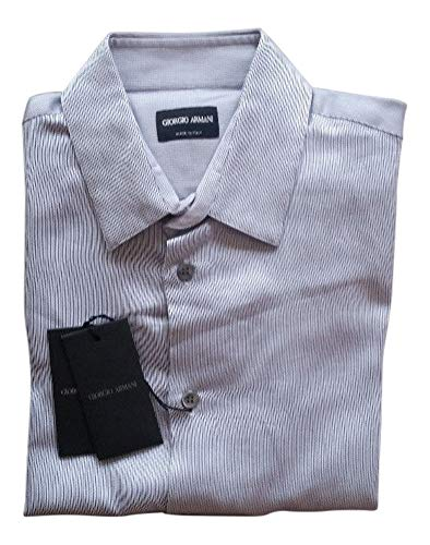 Giorgio. Armani. White/Black Striped Long Sleeve Dress Shirt Size 40/15.75