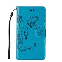 SZYT Phone Case for Apple iPod Touch 5th Generation Imprint Butterfly with Handle Strap Light Blue