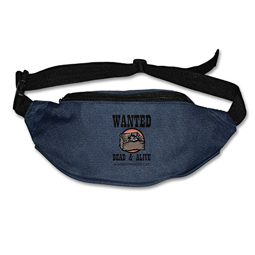 Ada Kitto Schrodinger's Cat Wanted Dead & Alive Mens&Womens Sport Style Waist Pack For Running And Cycling Navy One Size by Ada Kitto