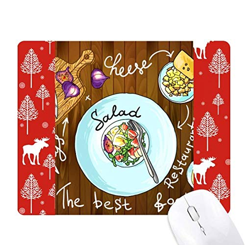 Salad Cheese Figs France Restaurant Christmas Woods Forest Deer Elk Mouse Pad