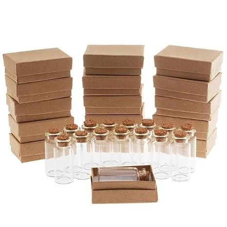 Botella de cristal transparente de con corcho 50 x 22 mm y marrón cajas de joyería