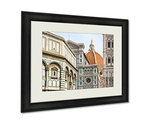 , Duomo Florence Italy Wall Art Decor Giclee Photo Print In Black Wood Frame, Soft White Matte, Ready to hang, 16x20 Art (Florence Framed)