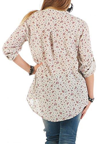Danaest - Camisas - con botones - Floral - cuello en V - manga 3/4 - para mujer Beige