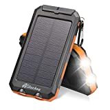 Solar Charger 10000mAh, Solar Power Bank Hiluckey Waterproof Portable Phone Charger Battery Backup with Dual USB 2.1A Fast Charge Outdoor Charging