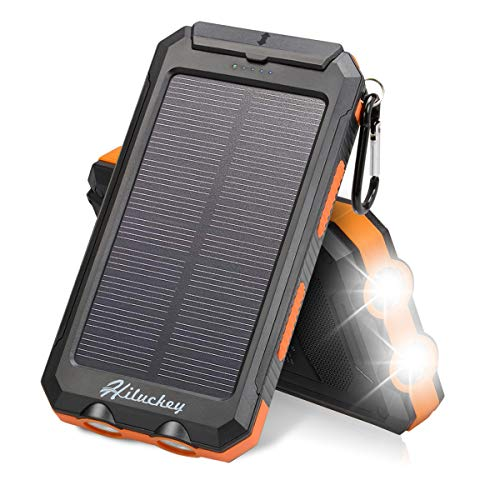 Solar Charger 10000mAh, Solar Power Bank Hiluckey Waterproof Portable Phone Charger Battery Backup with Dual USB 2.1A Fast Charge Outdoor Charging by Hiluckey