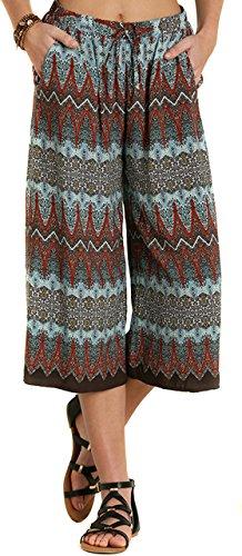 UMGEE Women's Capri Woven Pockets Boho Chic Bohemian Short Cropped Pants [Red Mix] [L]