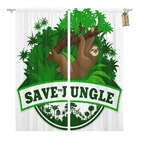 Golee Window Curtain Adventure Jungle Emblem Sloth Brazil Amazon Grass Safari Tropic Home Decor Rod Pocket Drapes 2 Panels Curtain 104 x 63 inches ()