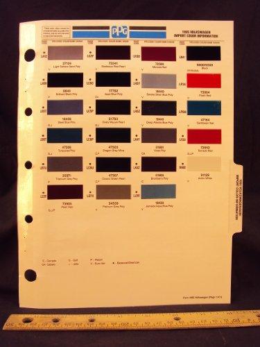 1995 95 VOLKSWAGEN / VW IMPORT, Corrado, Golf, Passet, Cabelo, Jetta, & Euro Van Paint Colors Chip Page
