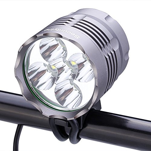 SecurityIng Waterproof 2500 Lumens 5X T6 LED Bicycle Light 3 Modes Headlamp Bright LED Bike Lamp Headlight with 8.4V Rechargeable Battery Pack and Charger for Outdoor Riding, Camping and Other Activit
