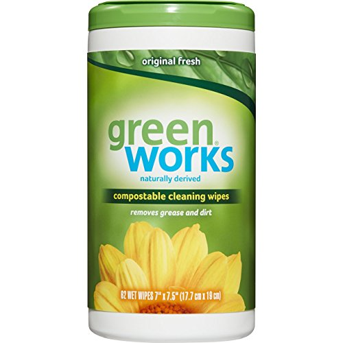Green Works Compostable Cleaning Wipes, Biodegradable Cleaning Wipes - Original Fresh, 62 Count (Pack of 6)