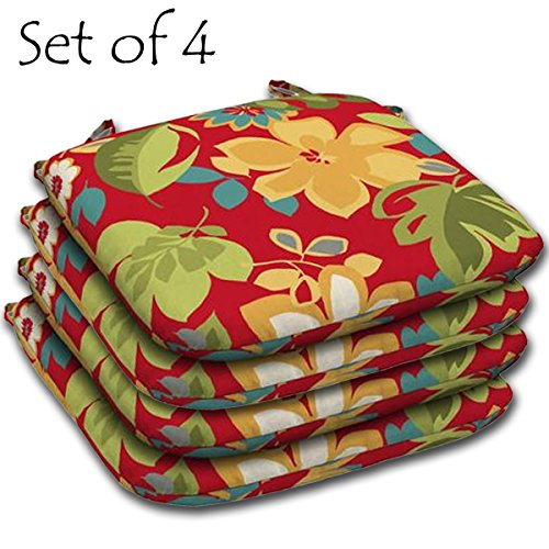 SET of 4 Outdoor Resin Seat Pads 15.5'' L x 16'' W x 2.25'' H in Polyester fabric Fun Floral by Comfort Classics Inc.