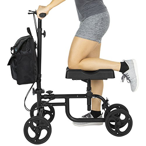 (Vive Knee Walker - Steerable Scooter For Broken Leg, Foot, Ankle Injuries - Kneeling Quad Roller Cart - Orthopedic Seat Pad For Adult and Elderly Medical Mobility - 4 Wheel Caddy Crutch - Bag Included)