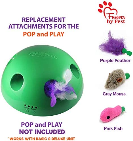 Furever 3 Replacement Cat Toy Attachments to use with The Pop and Play; Includes One Mouse, One Fish and One Feather. Ideal for Your cat, Interactive Way. Best Cat Toys Ever 2