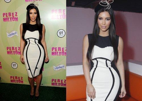 Crazy Femmes Filles Et Feuille Kardashian Kim Beyonce Impression Robe À Manches Longues Illusion D'optique Blanc