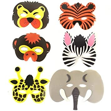 Pack of 6 Assorted Foam Childrens Wild Animal Masks (máscara/careta)