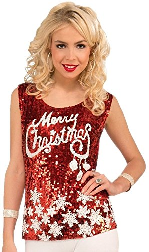 Women's Merry Christmas Sparkle Sequin Top (X-Large)