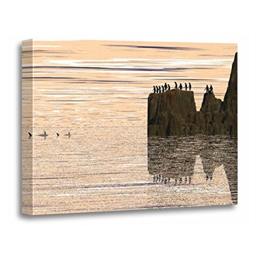 TORASS Canvas Wall Art Print Food Danger Penguins Sharks Chain Ocean Sea Rocks Artwork for Home Decor 12