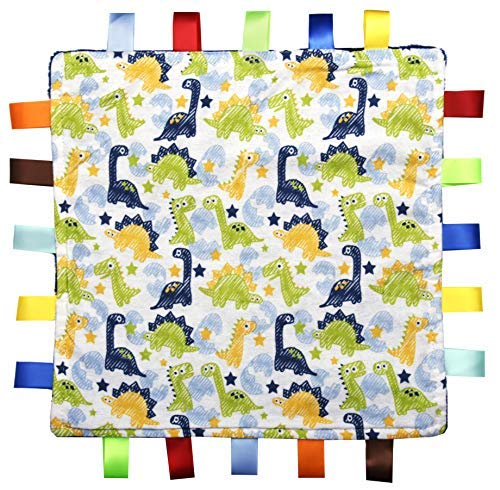For the Love of Leisure Dinosaur Security Blanket - 12in x 12in 150 Thread Cotton Comforter with Tags. Multi Colored Dinosuar Pattern - Blue