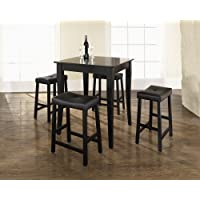 Crosley 5-Piece Pub Dining Set with Cabriole Leg and Upholstered Saddle Stools, Black Finish