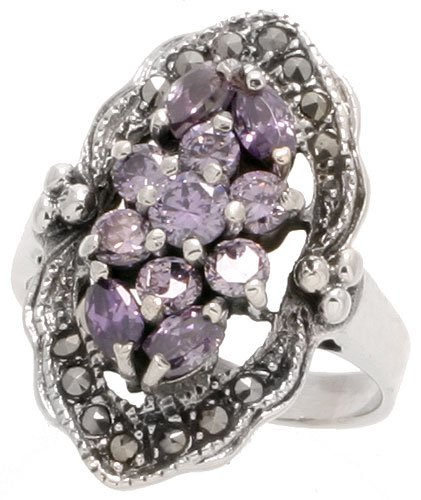 (Sterling Silver Marcasite Marquise-shaped Ring, w/ Brilliant & Marquise Cut Amethyst CZ, 1
