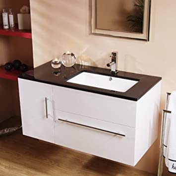 Vanity Unit with Basin for Bathroom Ensuite Wall Hung Soft