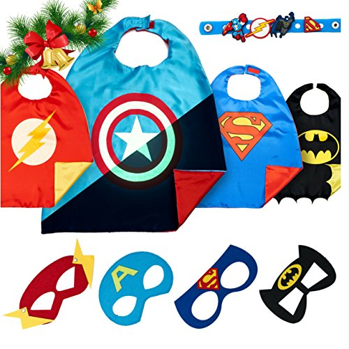 Superhero Costumes Boys Christmas Toys - 4 Super Hero Capes Masks Kids Toddler