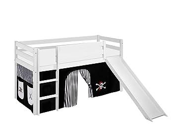 Etagenbett Hochbett Spielbett Kinderbett Jelle 90x200cm Vorhang : Lilokids spielbett jelle mit rutsche und vorhang kinderbett holz