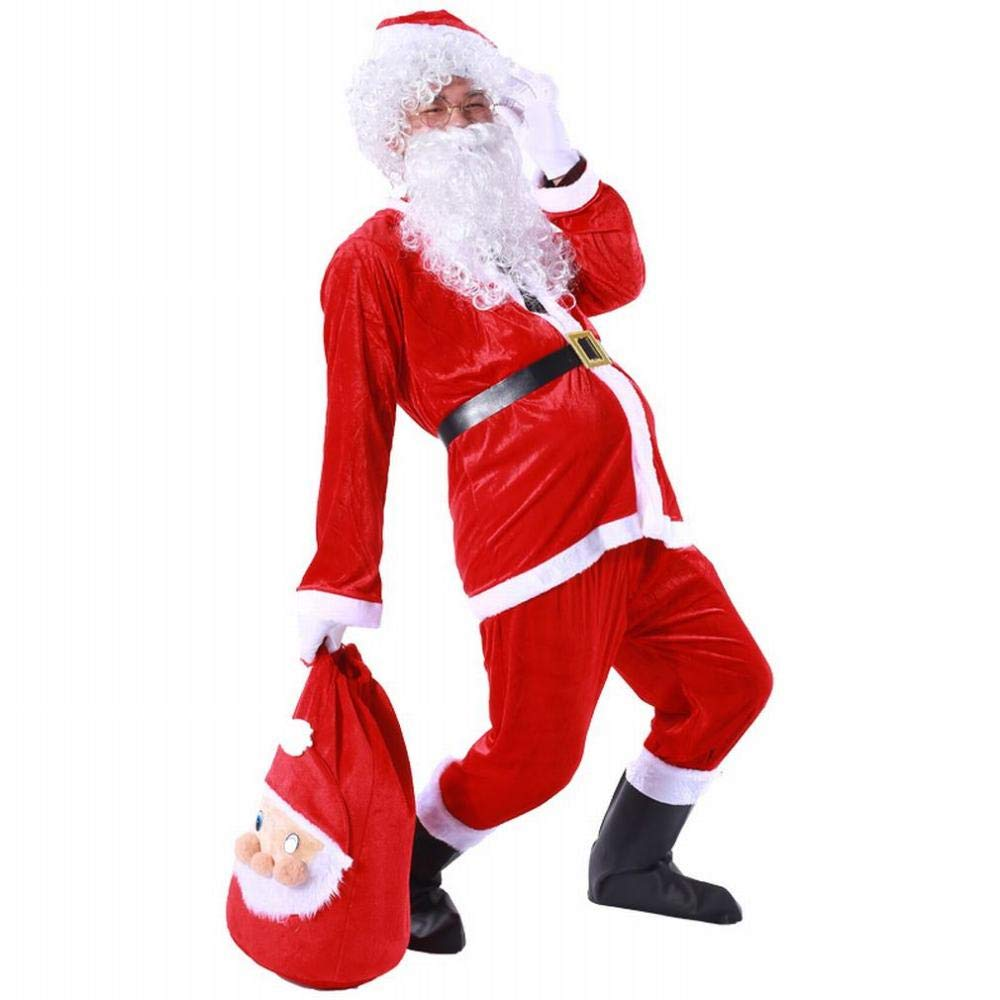 C.N. Santa Claus Costume Adult gold Velvet Christmas Performance Show Costumes Boys and Girls,Red,One Size