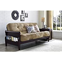 Solid Wood Arm Metal Futon With 8 Soft Twill-CoveredCoil Mattress and Cushions in Oatmeal Linen