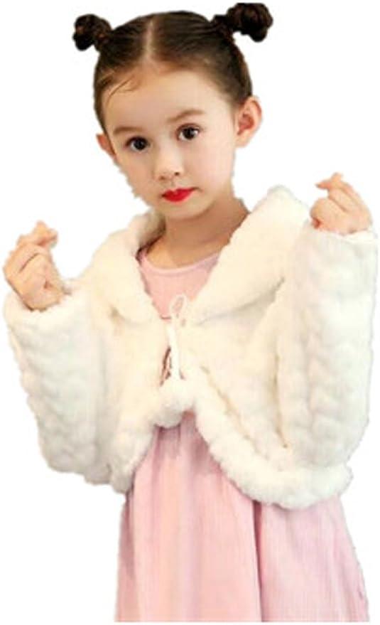 Kaerm Kids Girls Bridesmaid Wedding Party Shawl Stole Cold Weather Faux Fur Shrug Shoulder Cape Winter Party Cloak