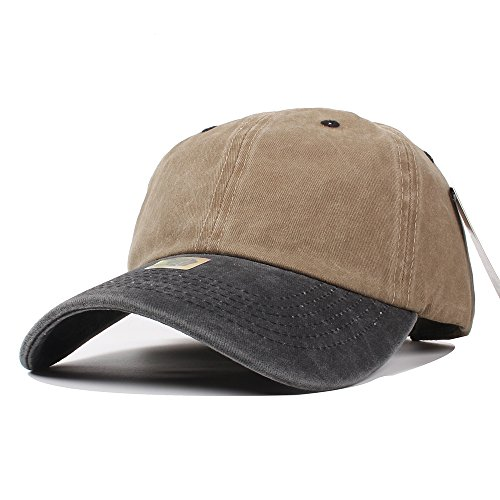 Vankerful Unisex Washed Baseball Cap Pigment Dyed Two Tone Low Profile Adjustable Six Panel Cap Sun Cap - Free Time Full Panel