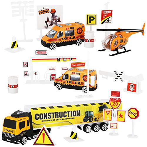 (Construction Site and Road Sign Playset for Kids - 19-Piece Engineering Toy Set with Helicopter, Trucks, Street Traffic Signs, Best Gift for Children)