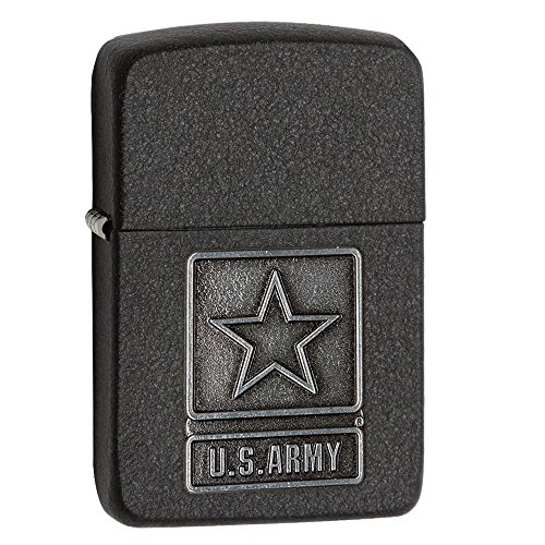 Zippo Us Army Pewter Emblem 1941 Black Crackle Lighter