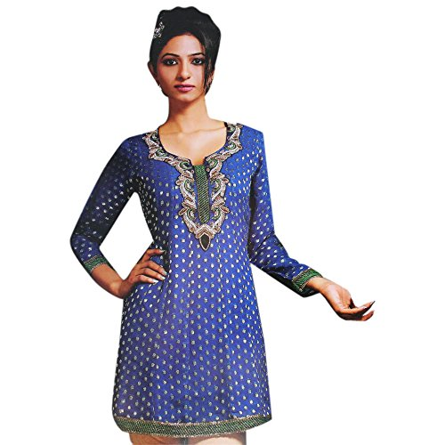 Jayayamala Lovely Blue Georgette Tunic Multi Color Stone Work Party Dress (m) by Jayayamala
