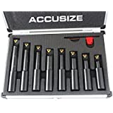 Accusize Industrial Tools 8 Pc 3/4'' Round Shank Indexable Boring Bar Set with Tcmt Carbide Inserts, 90 Degree, 2627…