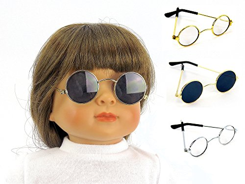 3 Pair of Glasses One Gold, One Silver, One Sunglass | Fits 18