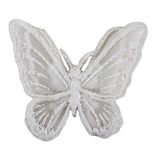 (10pc Double Layers Butterfly Patch Embroidered Organdy Lace Clothing Stickers Bride Veil Headband Accessories Iron On Applique TH1029 (white))